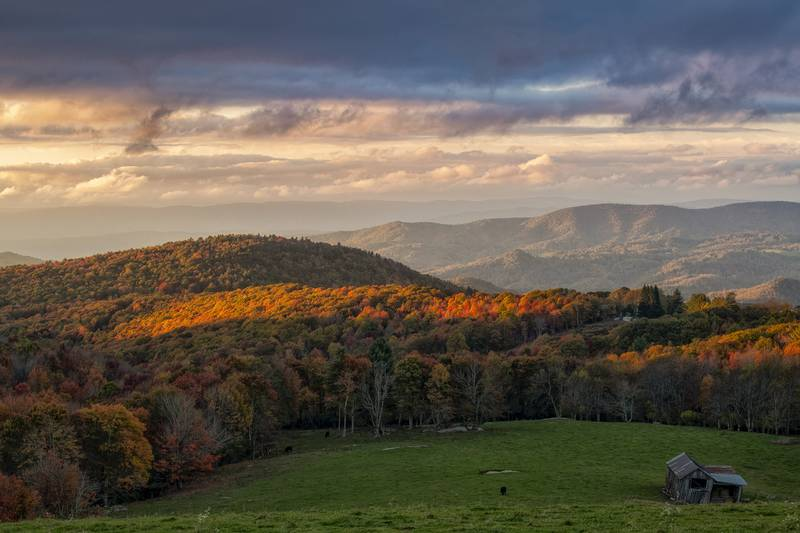 Meanwhile, sunset brings a patch of fall color to brilliant light, pictured Sunday near the Avery-Watauga county line, as fall color blankets the landscape looking from Banner Elk toward Boone.