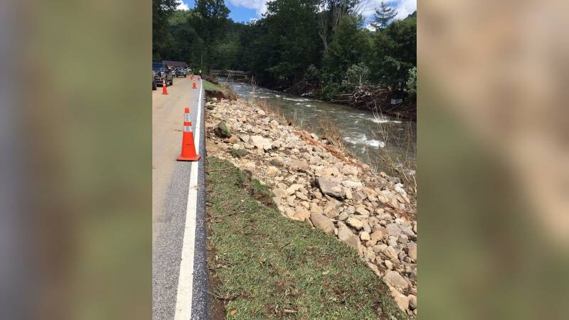 AUGUST 18, 2021 - Cruso was hit hard with record flooding on the Pigeon River from Tropical Storm Fred. Wednesday afternoon, only local traffic was allowed on US-276 into Cruso. (Photo credit: NCDOT)