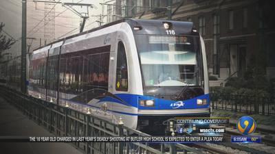 How will a new rail line run from Matthews through uptown Charlotte?