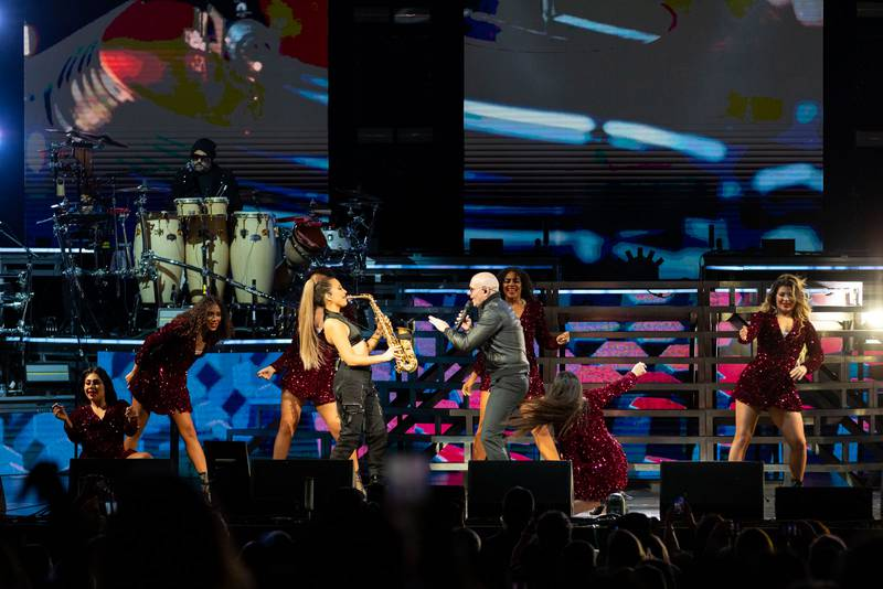 Pitbull performs at PNC Music Pavilion in Charlotte. Oct. 9, 2021.