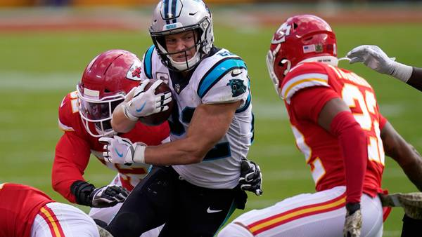 Panthers' McCaffrey returns to practice, status for Sunday unclear