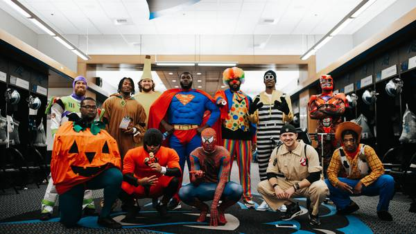 Photos: Panthers rookies share Halloween fun with patients at children's hospitals