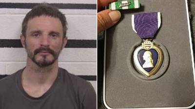 Police say thief traded stolen Purple Heart medal for Mountain Dew
