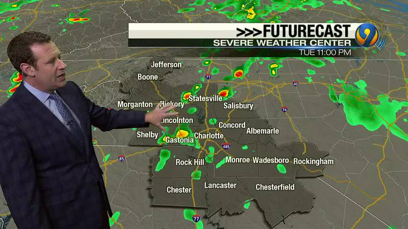 Tuesday afternoon forecast update from Meteorologist Keith Monday