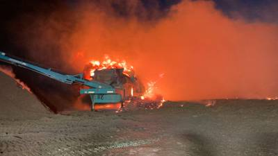 4 local departments work to put out large fire at mulch supply company in Huntersville