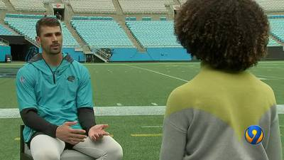 Panthers receiver Brandon Zylstra awards scholarship to 2 high school students