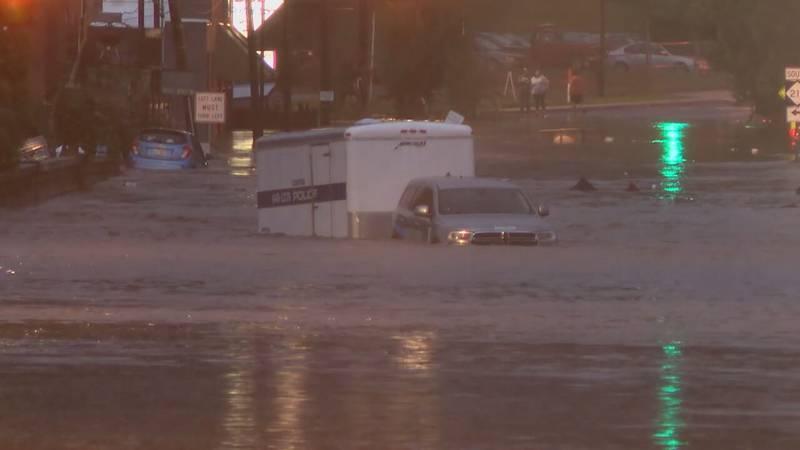 AUGUST 17, 2021 - Much of the Canton was underwater Tuesday, following major flooding along the Pigeon River. (Photo credit: WLOS staff)