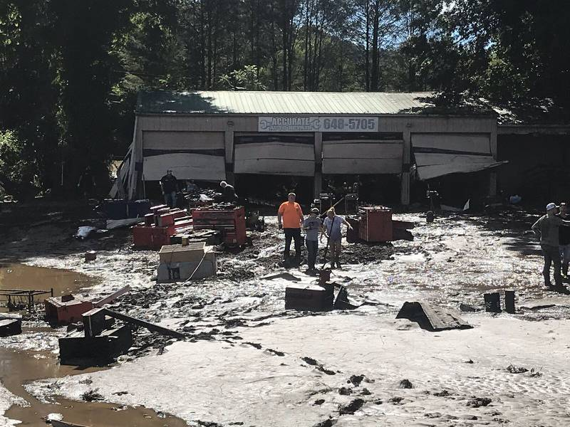 AUGUST 18, 2021 - Accurate Auto Repair in Canton, North Carolina, after suffering flood damage. (Photo Credit: WLOS Staff)