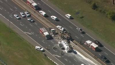 Deadly crash involving tanker truck shuts down I-77 in southwest Charlotte