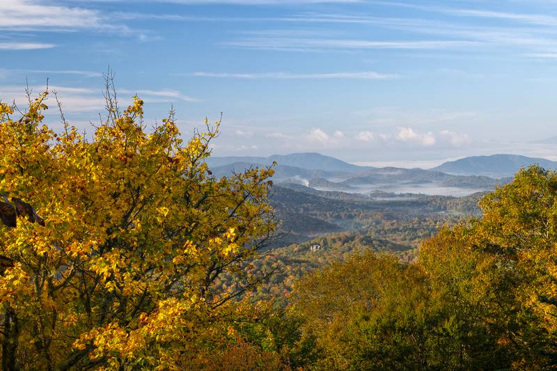 Grandfather Mountain's Split Rock may literally be divided, but fall color vistas from this particular area are wholly stunning.