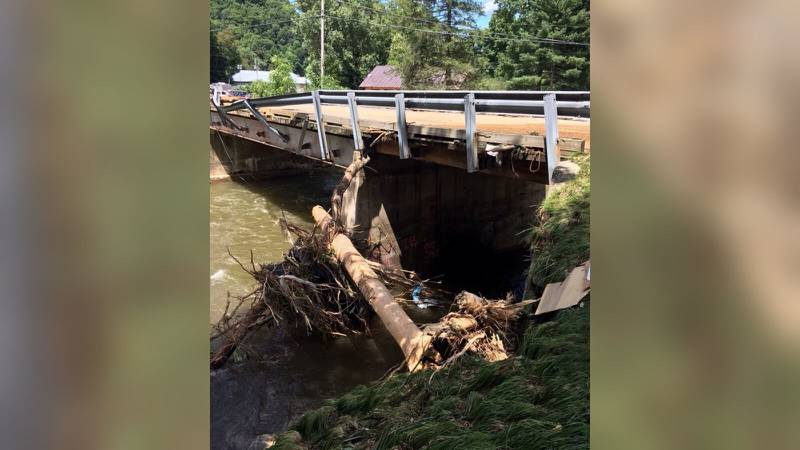 Cruso was hit hard with record flooding on the Pigeon River from Tropical Storm Fred. Wednesday afternoon, only local traffic was allowed on US-276 into Cruso. (Photo credit: NCDOT)