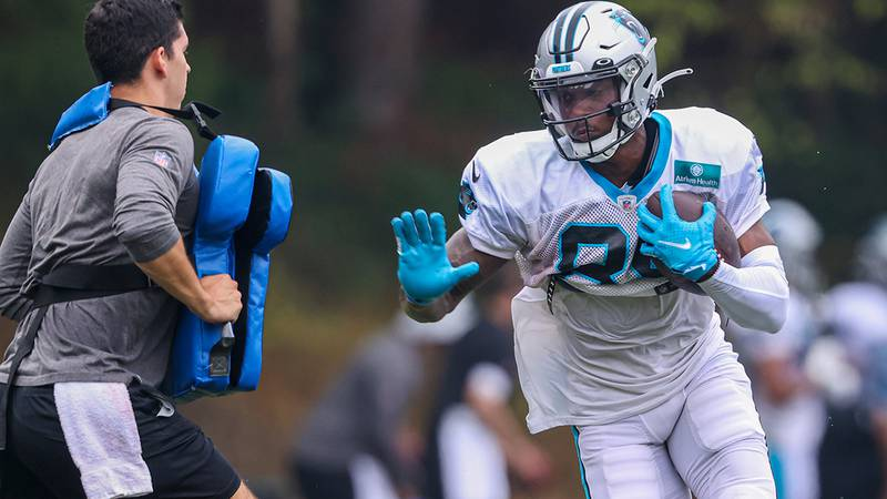 Carolina Panthers wide receiver Terrace Marshall Jr. runs after a catch during practice at the NFL football team's training camp in Spartanburg, S.C., Tuesday, Aug. 3, 2021.